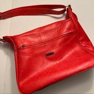Samsonite red leather carry on travel bag vintage